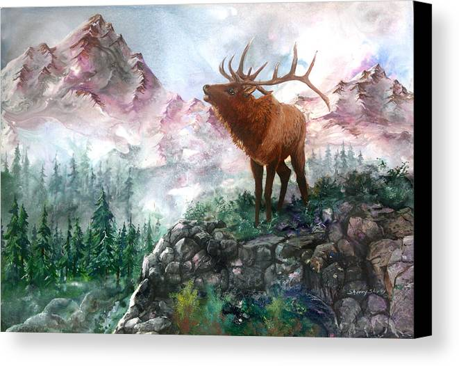 Elk Canvas Print featuring the painting September Song by Sherry Shipley