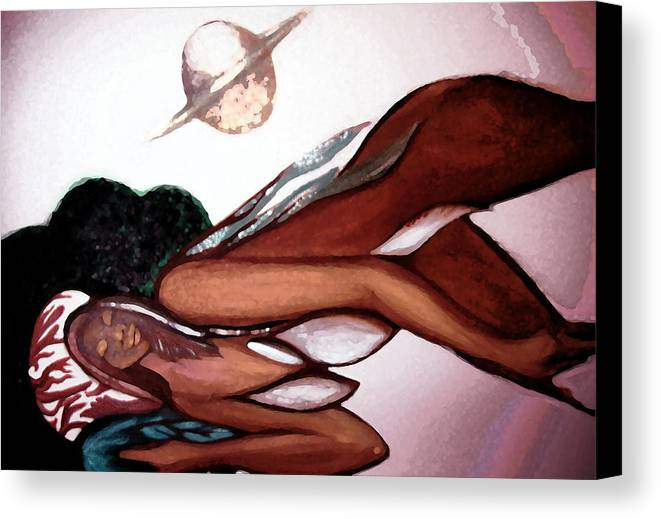 Seshat Canvas Print featuring the painting Seshat's Sync by MandyCka Johnson