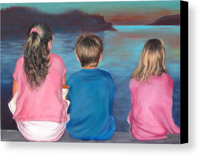 Beach Canvas Print featuring the painting Silver Island Sunset by Fiona Jack