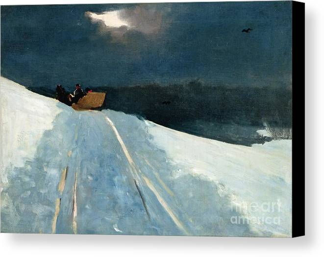 Winter Scene; Wintry; Snow; Snow-covered Landscape; Rural; Remote; Night; Darkness; Tracks; Path; Track; Moonlight; Sledge; Nocturne; Sleigh Ride Canvas Print featuring the painting Sleigh Ride by Winslow Homer