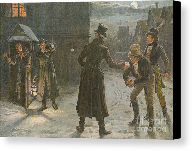 Pears Annual Canvas Print featuring the painting Snowballing The Watchmen by George Goodwin Kilburne