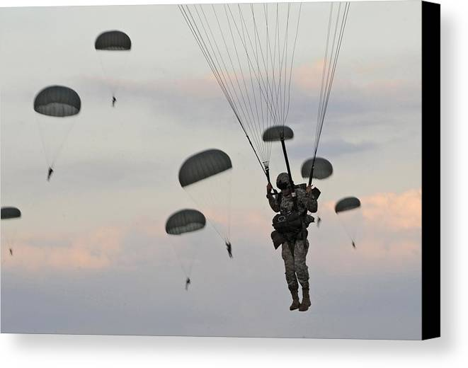 History Canvas Print featuring the photograph Soldiers Of The 82nd Airborne Descend by Everett