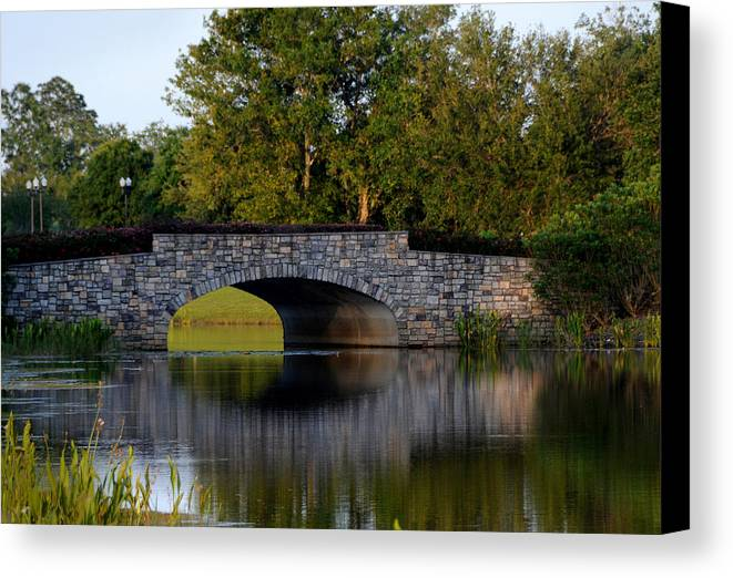 Bridge Canvas Print featuring the photograph Solivita Stone Bridge by Lyle Huisken