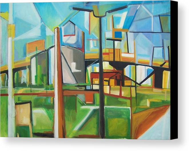 Landscape Canvas Print featuring the painting South Hackensack by Ron Erickson