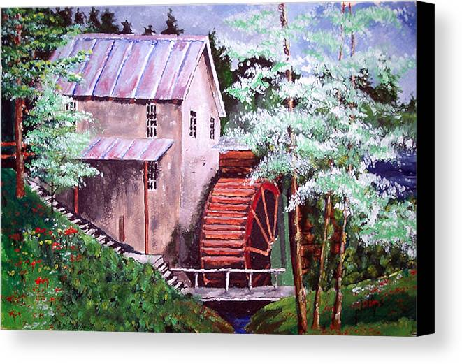 Mill Canvas Print featuring the painting Springtime At The Old Mill by Jim Phillips