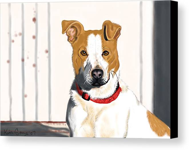 Dogs Canvas Print featuring the painting Spur by Kim Souza