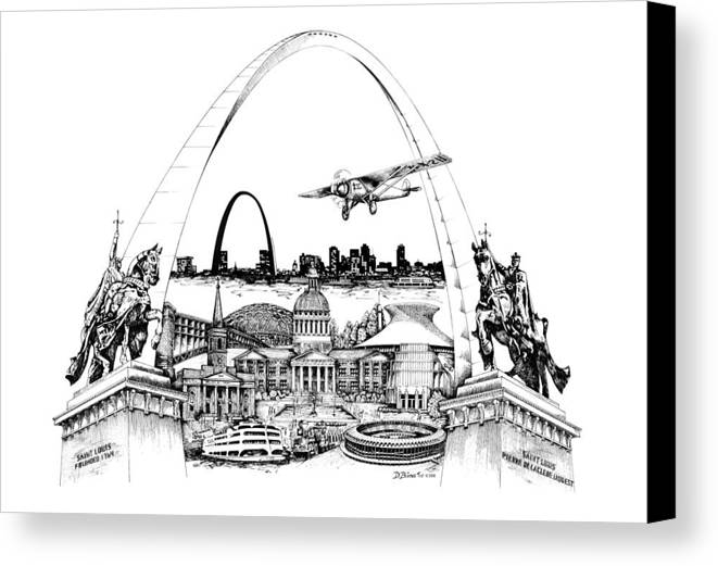 City Drawing Canvas Print featuring the drawing St. Louis Highlights Version 1 by Dennis Bivens