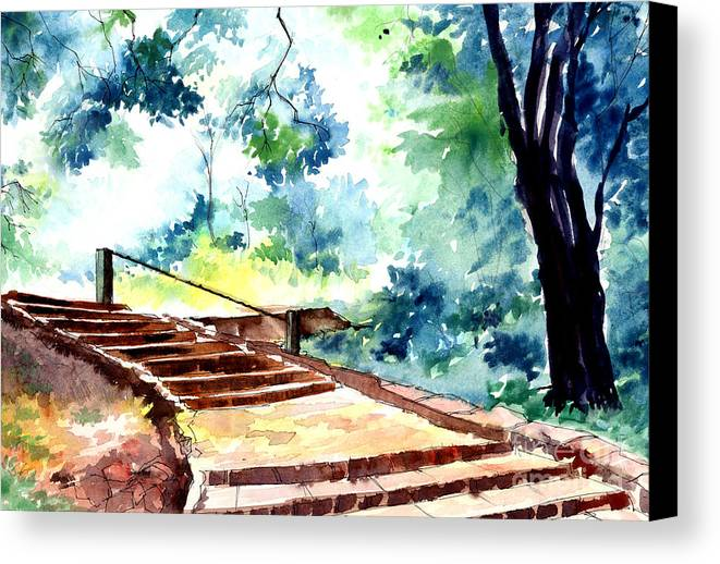 Landscape Canvas Print featuring the painting Steps To Eternity by Anil Nene