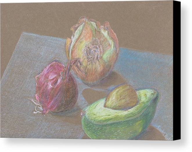 Still Life Canvas Print featuring the drawing Still Life With Avacado by Kathy Mitchell