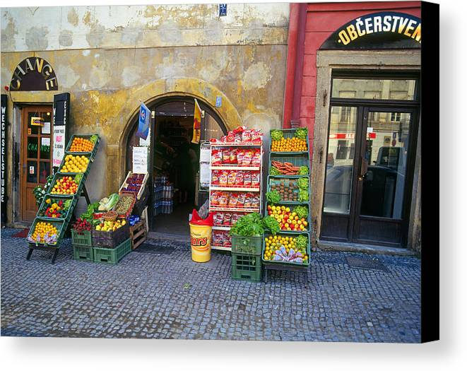Czech Canvas Print featuring the photograph Street Market, Prague by Buddy Mays