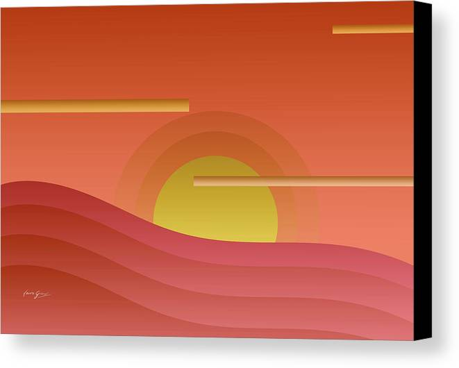 Abstract Canvas Print featuring the painting Summer Sunset by Laura Greco