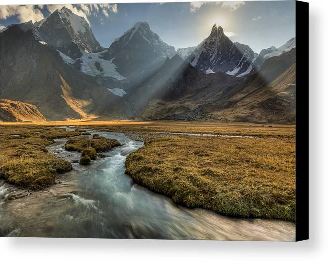 00498205 Canvas Print featuring the photograph Sun Setting Behind Jirishanca Peak by Colin Monteath