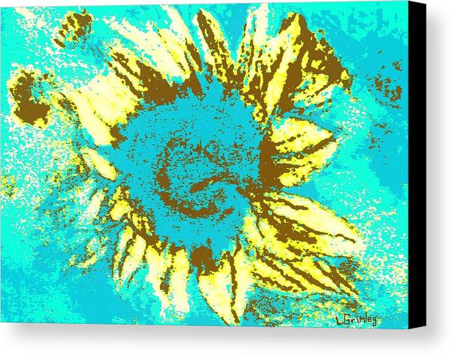 Flower Canvas Print featuring the mixed media Sunflower by Lessandra Grimley