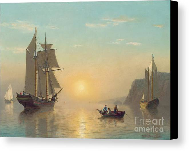Boat Canvas Print featuring the painting Sunset Calm In The Bay Of Fundy by William Bradford