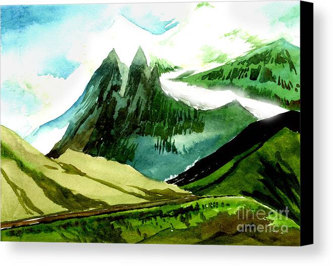 Landscape Canvas Print featuring the painting Switzerland by Anil Nene