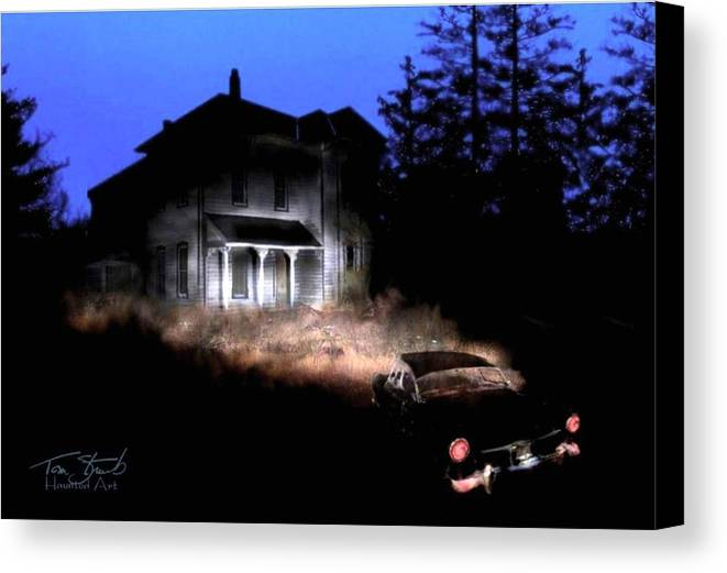 Haunted House Canvas Print featuring the digital art Tail Lights by Tom Straub