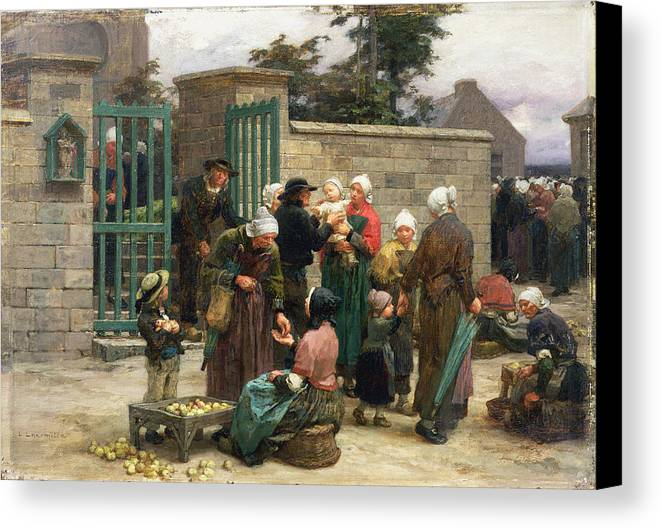 Taking Canvas Print featuring the painting Taking In Foundlings by Leon Augustin Lhermitte