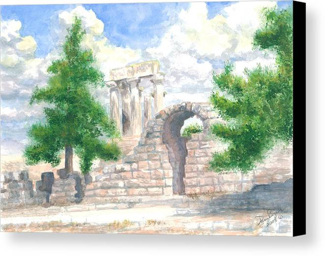 Grecian Temple Ruins Canvas Print featuring the painting Temple Of Apollo - Corinth by Dan Bozich