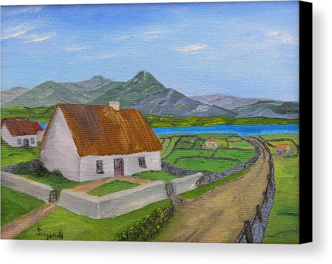 Irish Scene Canvas Print featuring the painting Thatched House 2 by Cary Singewald
