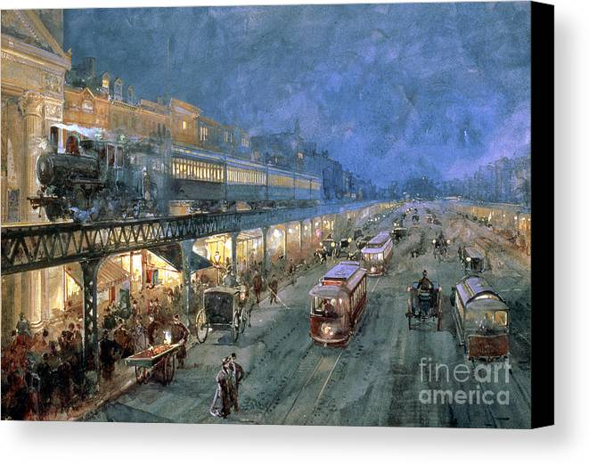 The Bowery At Night Canvas Print featuring the painting The Bowery At Night by William Sonntag