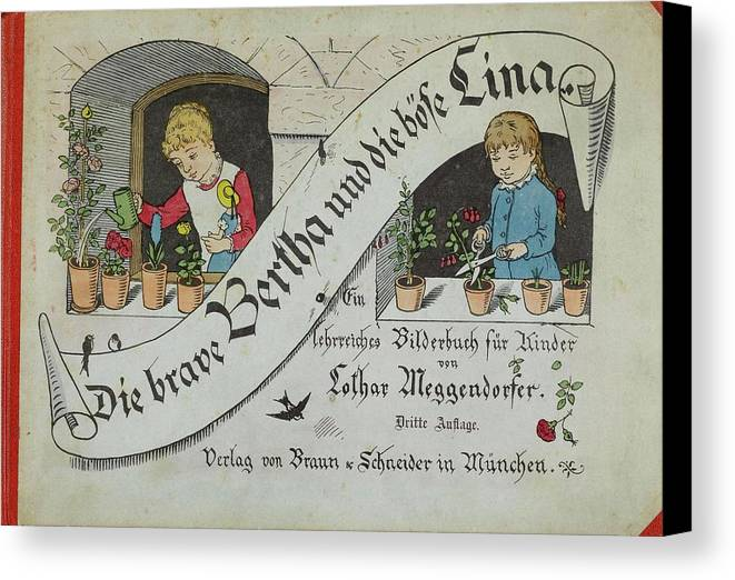Meggendorfer Canvas Print featuring the painting The Brave Bertha And Evil Lina by Meggendorfer