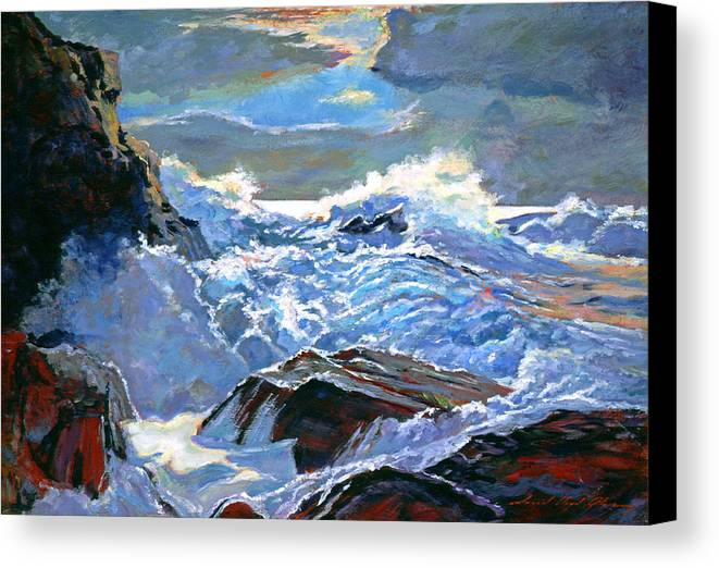 Waves Canvas Print featuring the painting The Foaming Sea by David Lloyd Glover
