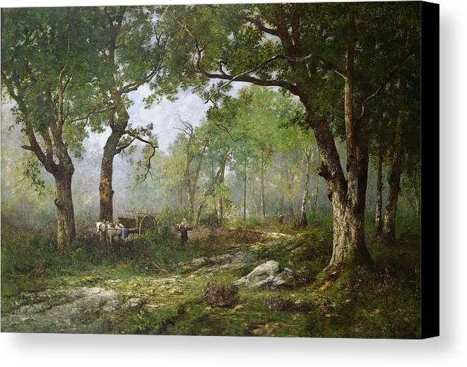The Forest Of Fontainebleau Canvas Print featuring the painting The Forest Of Fontainebleau by Leon Richet