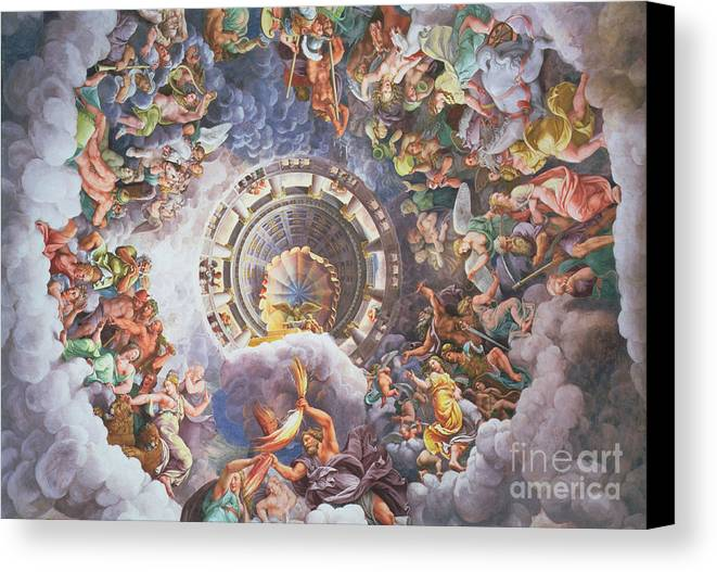 The Canvas Print featuring the painting The Gods Of Olympus by Giulio Romano