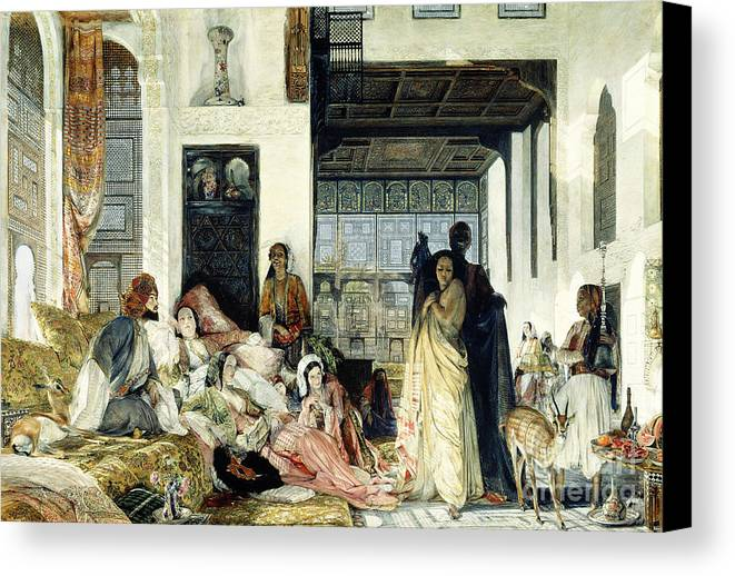 The Canvas Print featuring the painting The Harem by John Frederick Lewis