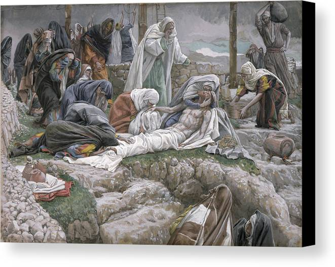 The Canvas Print featuring the painting The Holy Virgin Receives The Body Of Jesus by Tissot