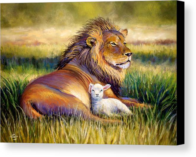 Lion And The Lamb Canvas Print featuring the pastel The Kingdom Of Heaven by Susan Jenkins