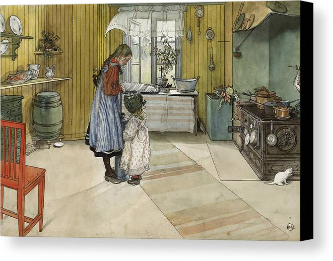 19th Century Art Canvas Print featuring the painting The Kitchen. From A Home by Carl Larsson