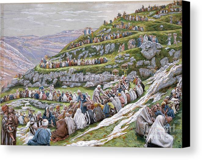 The Canvas Print featuring the painting The Miracle Of The Loaves And Fishes by Tissot