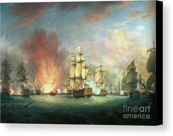 The Canvas Print featuring the painting The Moonlight Battle by Richard Paton
