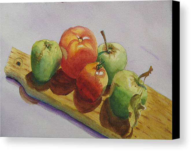 Fruit Canvas Print featuring the painting Three Apples Two Tomatoes by Libby Cagle