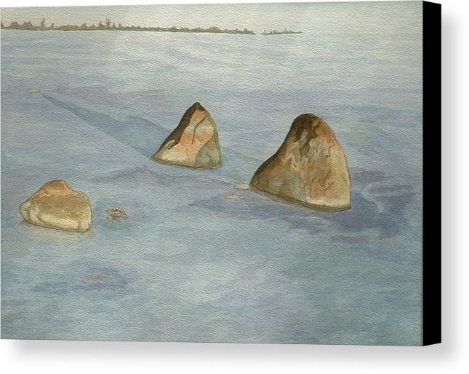 Lakescape Canvas Print featuring the painting Three Sisters by Lynn ACourt