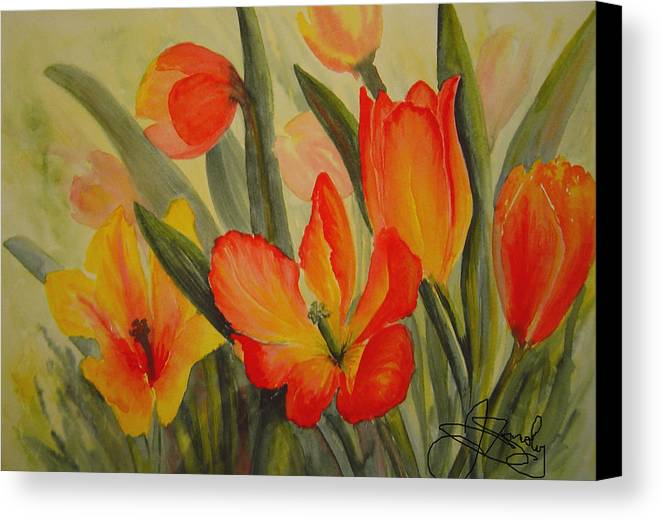 Spring Tulips Canvas Print featuring the painting Tulips by Joanne Smoley