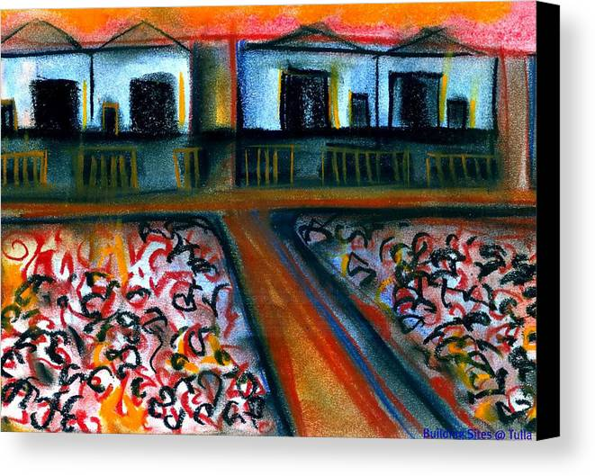J Kamaru Canvas Print featuring the mixed media Tulla Factories 2 by J Kamaru
