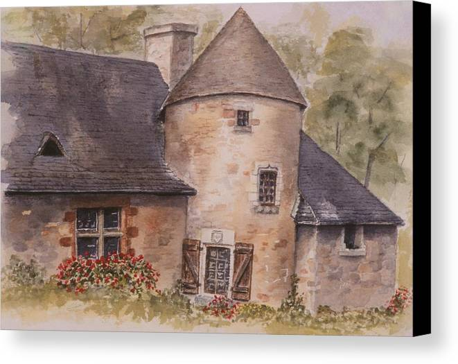 Watercolor Canvas Print featuring the painting Turenne by Mary Ellen Mueller Legault
