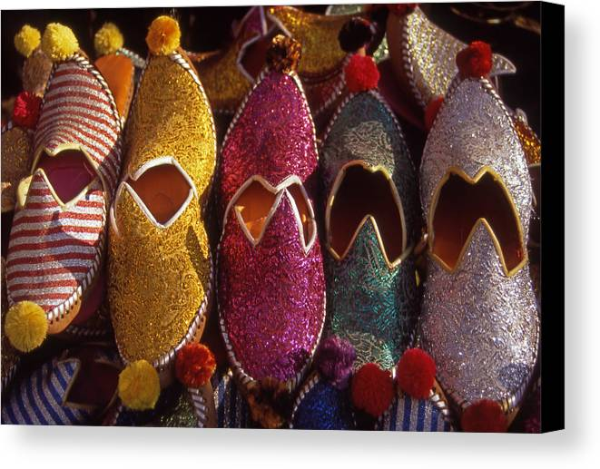 Colorful; Turkish; Slippers; Footwear; Turkey Canvas Print featuring the photograph Turkish Slippers by Steve Outram