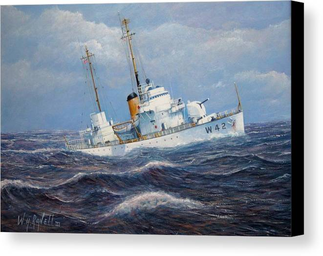 Marine Art Canvas Print featuring the painting U. S. Coast Guard Cutter Sebago Takes A Roll by William H RaVell III