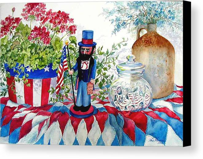 Americana;patriotic;uncle Sam;quilt;stars And Stripes;nutcracker;watercolor Painting; Canvas Print featuring the painting Uncle Sam And Star Cookies by Lois Mountz