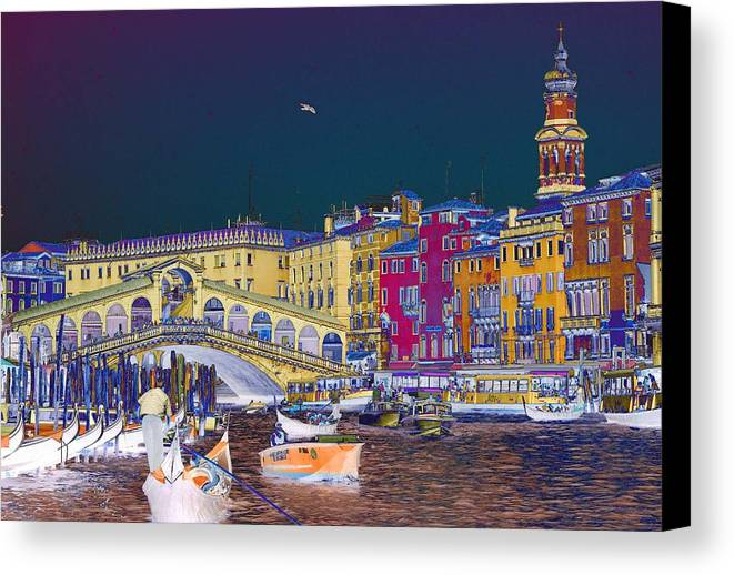 Venice Canvas Print featuring the photograph Venice Canal by Charles Ridgway