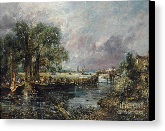 Constable Canvas Print featuring the painting View On The Stour Near Dedham by John Constable