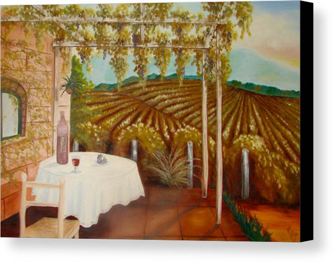Vineyard Canvas Print featuring the painting Vineyard II by Karen R Scoville