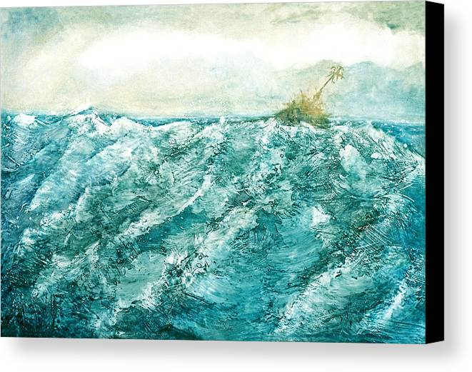 Oil Painting Canvas Print featuring the painting wave V by Martine Letoile
