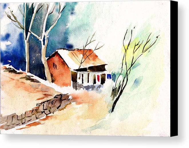 Nature Canvas Print featuring the painting Weekend House by Anil Nene