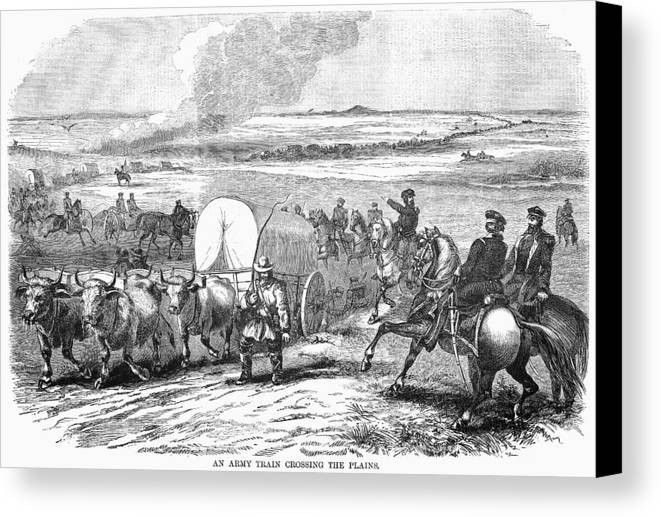 1858 Canvas Print featuring the photograph Westward Expansion, 1858 by Granger