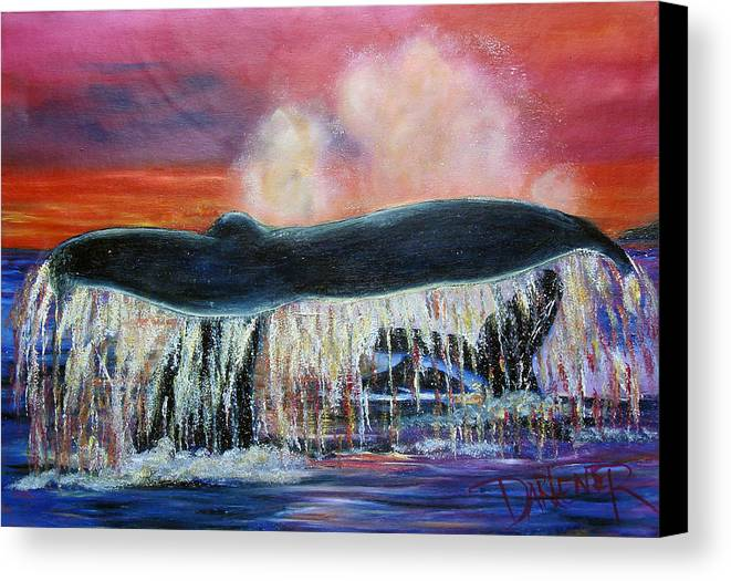 Whales Canvas Print featuring the painting Whale Of A Tale by Darlene Green