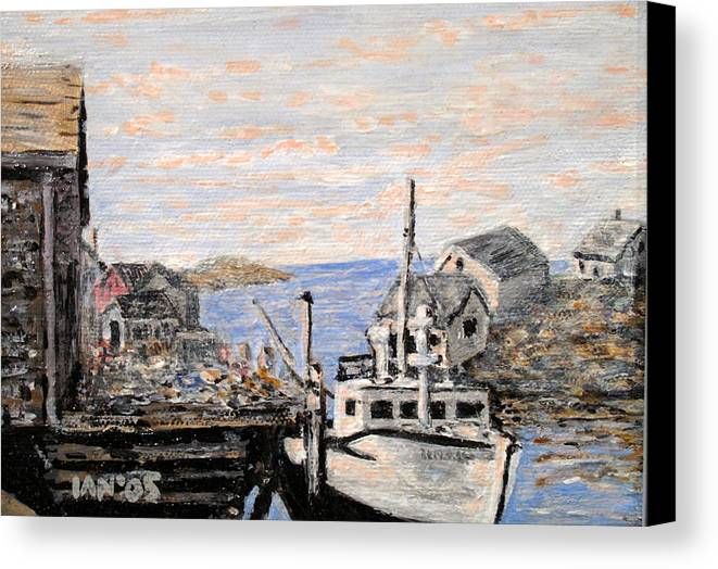 White Canvas Print featuring the painting White Boat In Peggys Cove Nova Scotia by Ian MacDonald